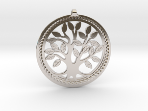 DNA/Tree Of Life Pendant ~ 45mm in Rhodium Plated Brass