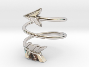 Spiral Arrow Ring - 18.19mm - US Size 8 in Rhodium Plated Brass