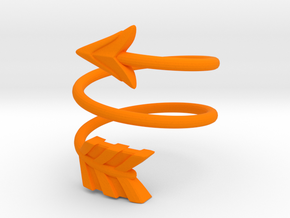 Spiral Arrow Ring - 17.35mm - US Size 7 in Orange Processed Versatile Plastic
