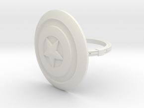 Captain America Ring - 18.89mm - US Size 9 in White Natural Versatile Plastic