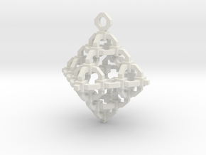 Diamond Cage Pendant in White Natural Versatile Plastic