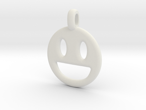 Happy Smile 3D printed jewelry pendant in White Natural Versatile Plastic