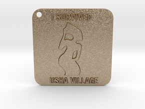 USHA MAMA KEYCHAIN  in Matte Gold Steel