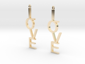 Love Earrings Large  in 14k Gold Plated Brass