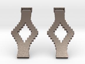 Tetris Earrings in Polished Bronzed Silver Steel