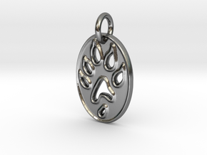 Tiny paw print ferret necklace in Polished Silver