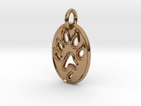 Tiny paw print ferret necklace in Polished Brass