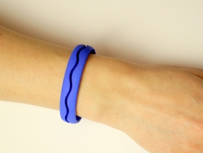 Bracelet03-wave in Blue Processed Versatile Plastic