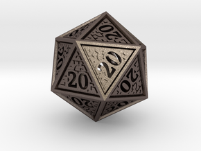 Hedron D20 (All 20's version) Hollow in Polished Bronzed Silver Steel