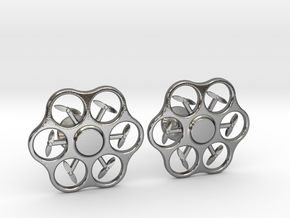 Hex Drone Cufflinks in Polished Silver
