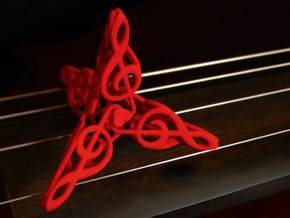 Treble Clefs #1 in Red Processed Versatile Plastic