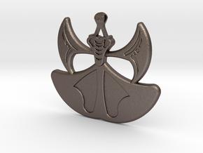 Lion Heart Flower Pendant in Polished Bronzed Silver Steel