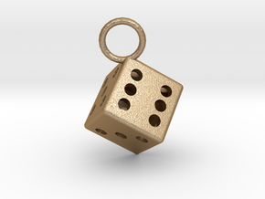 Charm: Dice in Matte Gold Steel