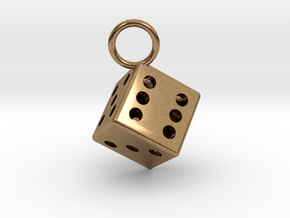 Charm: Dice in Natural Brass