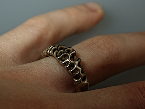 Voronoi Ring  in Stainless Steel