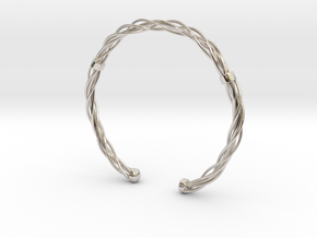 Plastic twist wrist band (M) in Rhodium Plated Brass