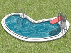 15mm Swimming Pool (Irregular Shape) in White Strong & Flexible