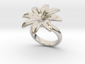 Flowerfantasy Ring 19 - Italian Size 19 in Rhodium Plated Brass