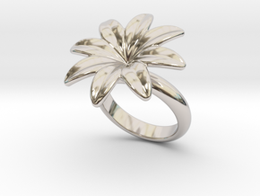 Flowerfantasy Ring 20 - Italian Size 20 in Rhodium Plated Brass