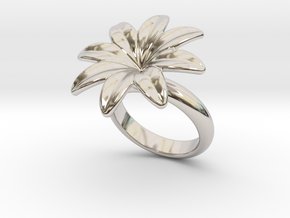 Flowerfantasy Ring 22 - Italian Size 22 in Rhodium Plated Brass