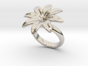 Flowerfantasy Ring 26 - Italian Size 26 in Rhodium Plated Brass