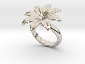 Flowerfantasy Ring 27 - Italian Size 27 in Rhodium Plated Brass