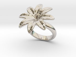 Flowerfantasy Ring 28 - Italian Size 28 in Rhodium Plated Brass