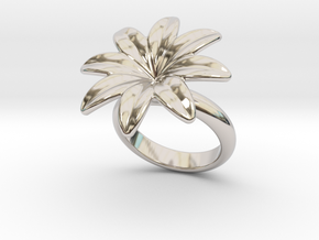 Flowerfantasy Ring 29 - Italian Size 29 in Rhodium Plated Brass