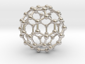 0009 Fullerene c60 ih in Rhodium Plated Brass