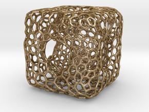 voronoi desktop cube in Polished Gold Steel