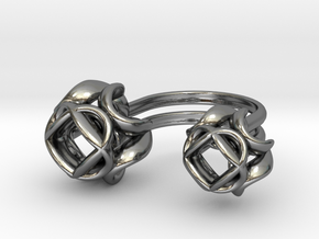Double Rose Ring size 1 in Polished Silver