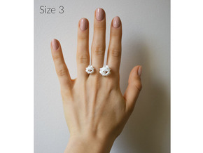 Double Rose Ring size 3 in White Natural Versatile Plastic