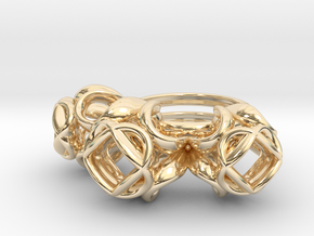 Trio Rose Ring size 2 in 14k Gold Plated Brass