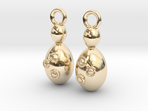 Saccharomyces Yeast Earrings - Science Jewelry in 14K Yellow Gold