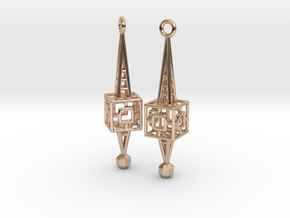 Lattice Earrings in 14k Rose Gold Plated Brass