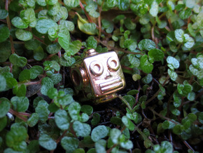 Reversible retro robot head pendant in 14k Rose Gold Plated