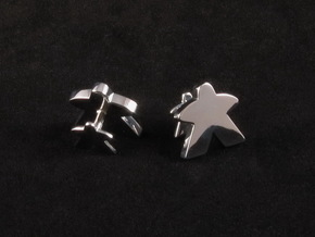Meeple Cufflinks in Rhodium Plated Brass