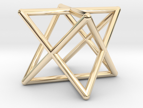 Merkaba Round Wires 1.5cm Cube in 14K Gold