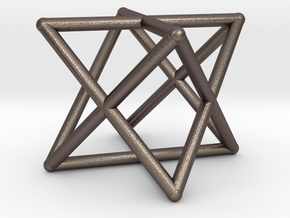 Merkaba Round Wires 1.5cm Cube in Polished Bronzed Silver Steel