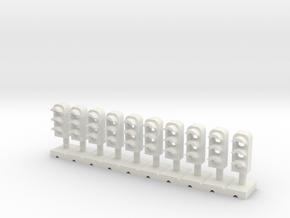 Dwarf Signal 3 Light (10) - HO 87:1 Scale in White Natural Versatile Plastic