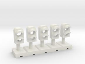 Dwarf Signal 2 Light (5) - HO 87:1 Scale in White Natural Versatile Plastic