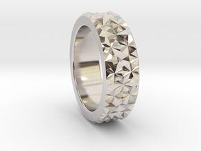 Light Reflection Ring in Rhodium Plated Brass
