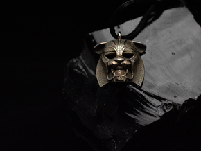 Tiger kabuki-style  Pendant in Polished Gold Steel