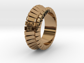 Ø0.683 inch/Ø17.35 mm WAVE RING MODEL B in Polished Brass