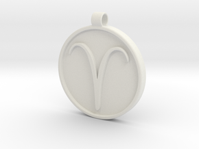 Zodiac KeyChain Medallion-ARIES in White Natural Versatile Plastic