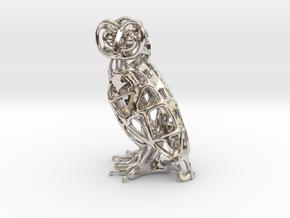 Barn Owl Pendant in Platinum