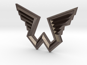 Wings Logo Pendant in Polished Bronzed Silver Steel