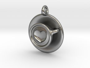Coffee Love Pendant in Natural Silver