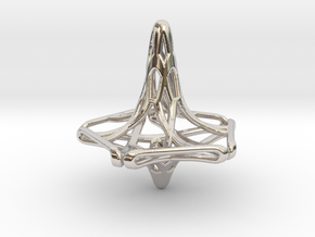 Penta-Fractal Spinning Top in Rhodium Plated Brass