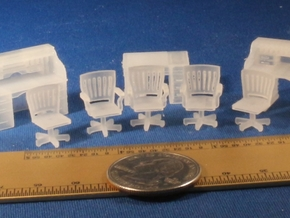 Rolltop desks and Chairs S Scale in Frosted Ultra Detail